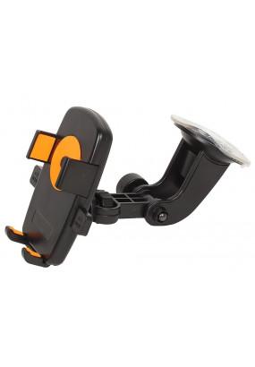 """Автомобильный держатель Perfeo-502 для смартфона до 5""""/ на стекло/ One touch/ черный+оранж. (PH-502-2)"""