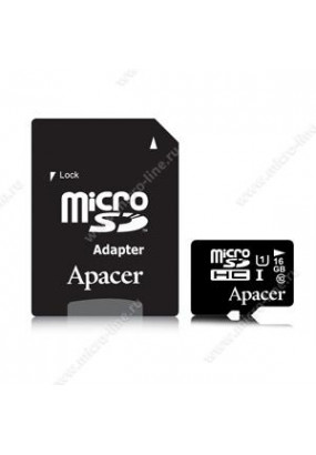 Карта памяти Apacer microSDHC 16GB UHS-1 Class10 R/W 45/10 MB/s + adapter (AP16GMCSH10U1-R)