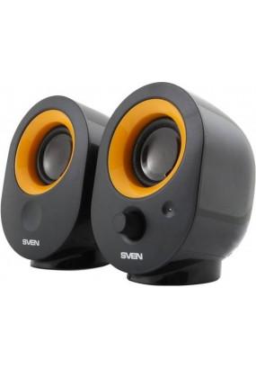 SVEN 316 2.0, (Черные) стерео, мощность 4 Вт, 100-20000 Гц, материал колонок: пластик, разъем для наушников, магнитное экранирование, питание от USB