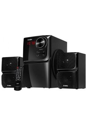 SVEN MS-305,число каналов: 2.1, мощность: 40 Вт, 40-20000 Гц, материал колонок: MDF, материал сабвуфера: MDF, пульт ДУ, радио, Bluetooth
