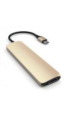 USB адаптер Satechi Slim Aluminum Type-C Multi-Port Adapter with Type-C Charging Port зол