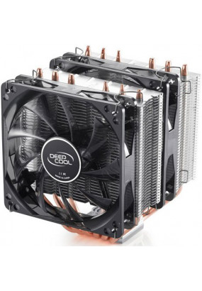Охладитель Deepcool NEPTWIN, S115x/2011/FM2+/AM2+/AM3+, TPD 150W, 6 теплотрубок, 4-pin PWM, fan Ф120x25mm, 900-1500rpm, 18-30dBA, 139.5 CFM, HDB (hydro dynamic bearing), 1086 гр.