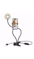 Кольцевая LED лампа Professional Live Stream (9см)+держатель для телефона+зажим-крепление, чёрный