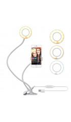 Кольцевая LED лампа Professional Live Stream (9см)+держатель для телефона+зажим-крепление, белый