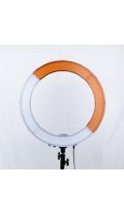 Кольцевая LED лампа бело-оранжевые вставки(45см)+держатель для телефона+сумка+штатив(металл)2.1м