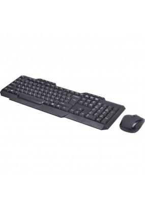 Клав.+ мышь Ritmix RKC-105W, Black, Wireless,104+10кн, мышь: 3 кн.,1600dpi, питание AAA