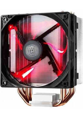 Охладитель CoolerMaster Hyper 212 LED (RR-212L-16PR-R1), All Sockets, 4 pin PWM, fan 120x25mm, 600-1600rpm, 9-31 dBA, 66.3CFM, sleeve bearing long life, MTBF 280000hrs, 734g