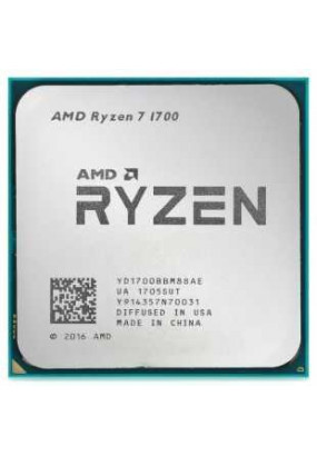 CPU sAM4 AMD Ryzen 7 1700 Tray (YD1700BBM88AE) (3.00-3.70GHz, Summit Ridge, 8C/16T, L2: 4MB, L3: 16MB, 14nm, 65W, unlocked, DDR4-2667)