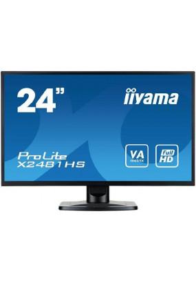"""LCD 24"""" Iiyama X2481HS-B1,VA, 1920x1080, 250 кд/м2, 3000:1, 6 мс, 178°/178°, стереоколонки, DVI, HDMI, VGA"""