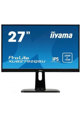 """LCD 27"""" Iiyama XUB2792QSU-B1, IPS, 2560x1440, LED, 350 кд/м2, 1000:1, 5 мс, 178°/178°, стереоколонки, USB-концентратор, DVI, HDMI, DisplayPort"""