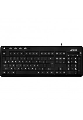 Клав. A4 KD-126-2 Black, USB, Slim, Multimedia, LED (синяя подсветка)