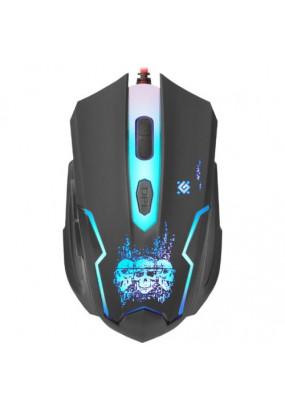 Мышь Defender Skull GM-180L Gamer Black, 6 кн., 800-3200 dpi, подсветка, оптическая, проводная