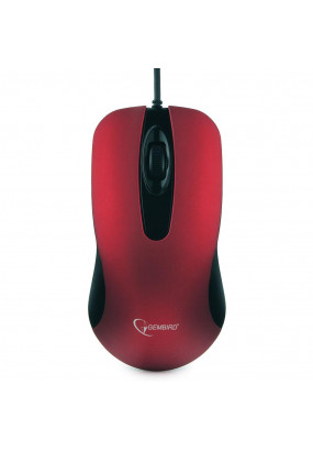 Мышь Gembird MOP-400-R Red, USB, 1000 dpi, soft-touch, бесшумный клик