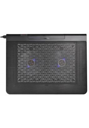 """Подставка для ноутбука до 17,3"""" Buro BU-LCP170-B214 Black, 2 вентилятора: 140 мм, поток: 76.61 CFM, уровень шума: 23 dB(A), 2 х USB-разъёма, LED подсветка, регулировка наклона, материал: металл, пластик"""
