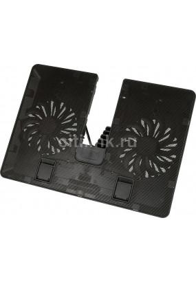 """Подставка для ноутбука до 15.6"""" Deepcool U PAL Black, 2 вентилятора: 140 мм, уровень шума: 2.6 — 26.3 дБ, сквозной порт USB 3.0, 6 углов наклона, металлическая сетка"""
