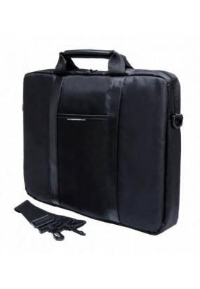 "Сумка для ноутбука 15,6"" PC Pet Nylon Style Toplader Front pocket Stiched PU Stripes, Black (PCP-1003BK)"