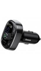 Автомобильная зарядка FM трансмиттер Baseus T typed Bluetooth MP3