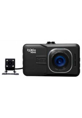 "DVR Dixon R845, 2 камеры: 1920x1080p/25 fps/140°, задняя 720x480/25 fps/110°, AVI (H.264), LCD 3.0"", ИК-подсветка + фильтр НС, помощь парковки, G-sensor, USB, HDMI, SD (до 32GB), акб 500мАч"